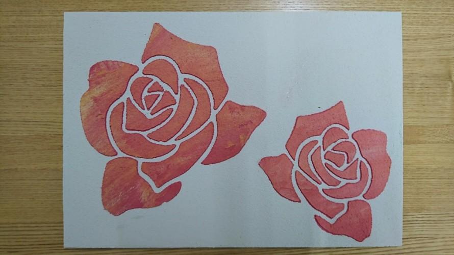 塗り壁体験 バラ